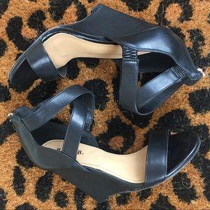 justFab • wedge • sandal • cross strap • black